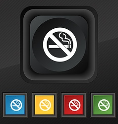 No smoking icon symbol Set of five colorful vector