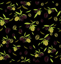 olive branch seamless pattern olive background vector image