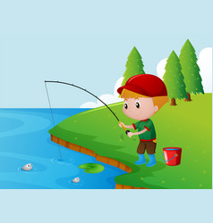One boy fishing alone on the river bank vector