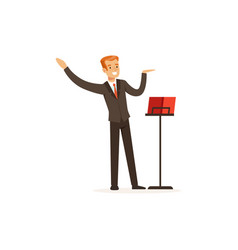 Orchestra conductor directing musical performance vector