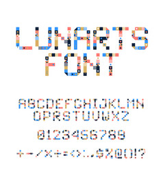 pixel art alphabet colorful letters consist of vector image