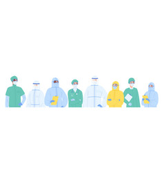 portrait diverse team medical specialists in vector image