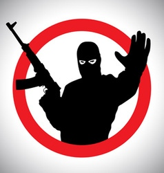 Prohibitory signs silhouette of military man vector image