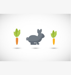 Rabbit and carrot flat icon set vector