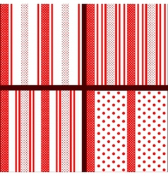 red striped polka dot patterns vector image