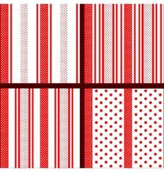 red striped polka dot patterns vector image vector image
