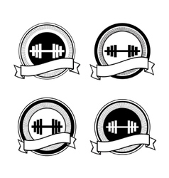 retro bodybuilding badge vector image