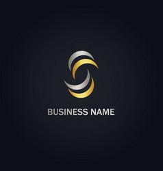 S circle initial abstract company gold logo vector