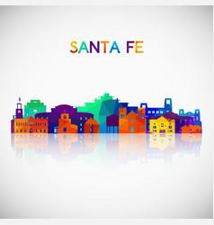 Santa fe skyline silhouette in colorful geometric vector