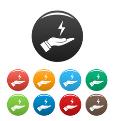 save energy icons set color vector image