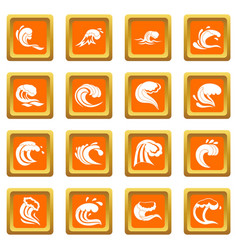 sea waves icons set orange vector image