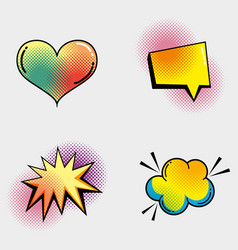 set heart with chat bubble and star with cloud vector image