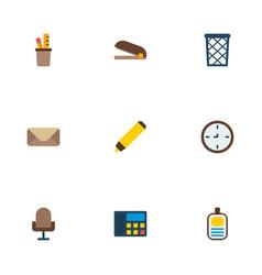 set of bureau icons flat style symbols with pencil vector image
