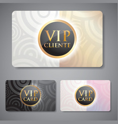 set of vip cards with circle pattern vector image