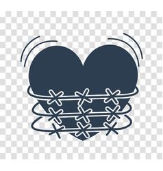 Silhouette icon of heartache vector