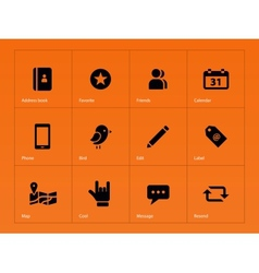 Social icons on orange background vector image