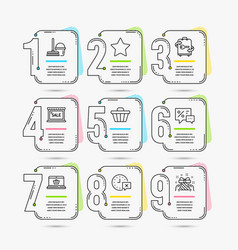 Star online shopping and time icons bucket with vector
