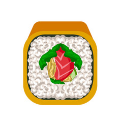 sushi roll with with salmon traditional japanese vector image