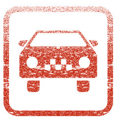 Taxi car framed textured icon vector