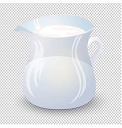 Transparent glass jug with milk isolated on a vector
