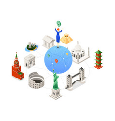 travel around the world - colorful isometric vector image