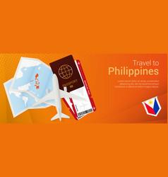 Travel to philippines pop-under banner trip vector