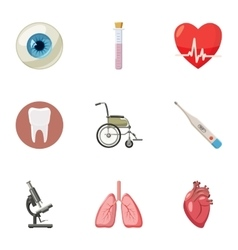 Treatment icons set cartoon style vector