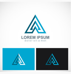 Triangle arrow pyramid business logo vector