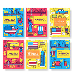 usa brochure cards thin line set country vector image