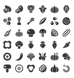 Vegetable icon set 22 solid style vector