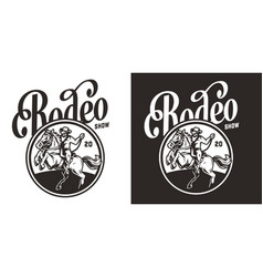 vintage rodeo show round label vector image