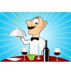 waiter with mustache setting the table vector image