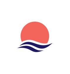 Wave water sea sunset sun logo icon vector