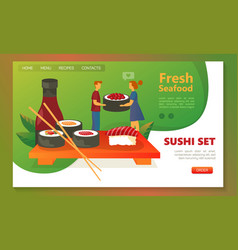 Website banner or page template for sushi delivery vector