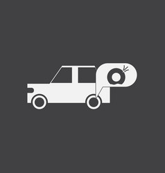 White icon on black background car and punctured vector