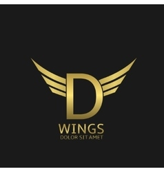 Wings D letter logo vector