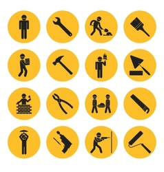 Yellow Circle Construction and Building Icons vector image