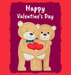 You and me poster with bears lovers holding hearts vector