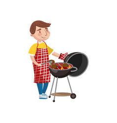young man preparing steak on the barbecue grill vector image