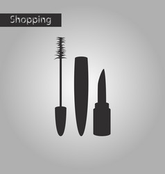 black and white style icon mascara and lipstick vector image