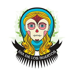 Day of dead skull girl with ribbon vector image