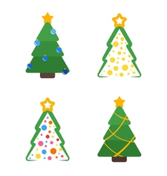 Flat colored christmas tree with star and garland vector image vector image