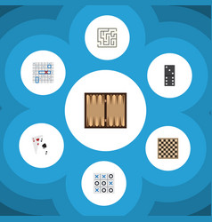 flat icon play set of dice chess table sea fight vector image vector image