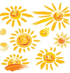 Set of hand drawn sun symbols with smile vector image vector image