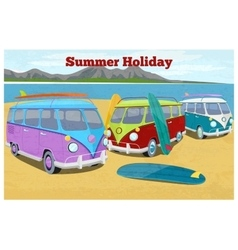 Summer travel design with surfing camper van vector image vector image