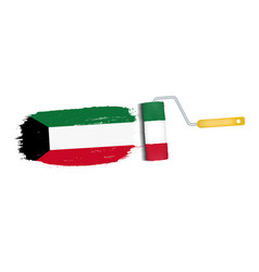 Brush stroke with kuwait national flag isolated on vector