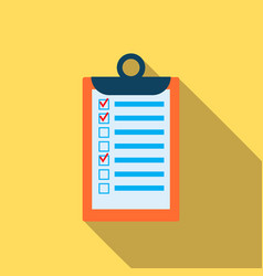 clipboard with checklist icon in flat style vector image vector image