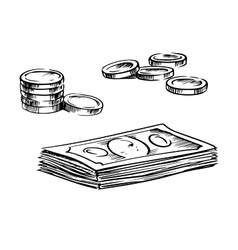 Coins and stacks of dollar bills sketches vector image