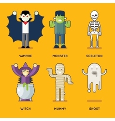Halloween Characters Icons Set Stylish Party Roles vector image vector image