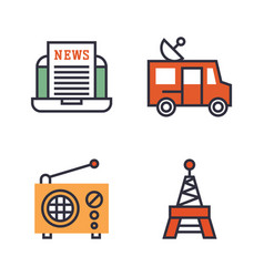hot news icons flat style colorful set websites vector image vector image
